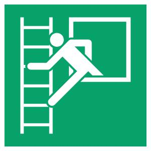 Fenêtre de secours avec échelle de secours - carré de couleur vert