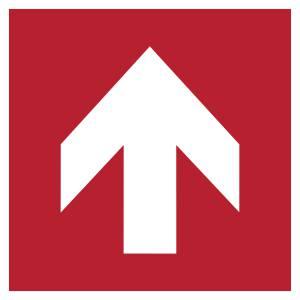 Flèche directionelle 90 - carré de couleur rouge