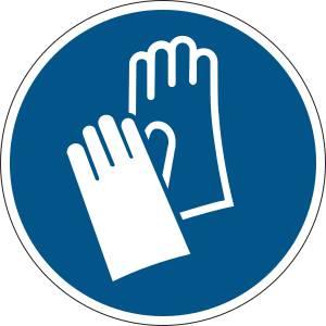 Gants de protection obligatoires - rond de couleur bleu