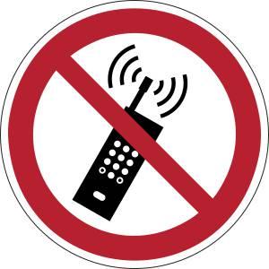 Interdiction d'activer des téléphones mobiles - rond -  rouge