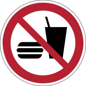Interdiction de manger ou de boire - rond -  rouge