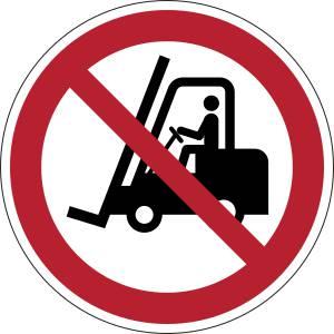 Interdit aux chariots élévateurs à fourche et autres véhicules industriels - rond -  rouge