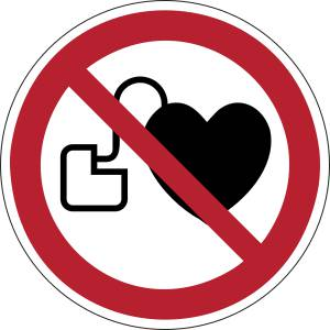 Interdit aux personnes porteuses d'un stimulateur cardiaque - rond -  rouge