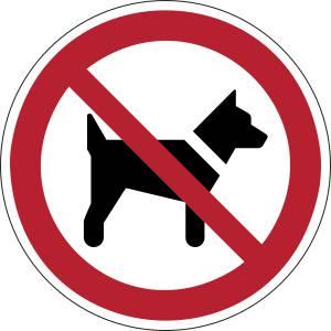 Interdits aux chiens - rond -  rouge