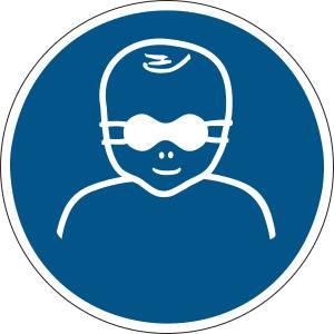 Les enfants en bas âge doivent être protégés par un protecteur opaque de loeil - rond de couleur bleu