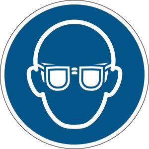 Lunettes de protection obligatoires - rond de couleur bleu