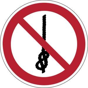 Ne pas faire de noeuds avec la corde - rond -  rouge
