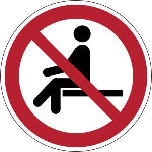 Ne pas s'assoir sur le bord - rond -  rouge