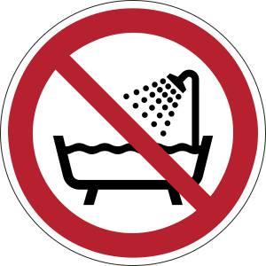 Ne pas utiliser ce dispositif dans une baignoire une douche ou dans un réservoir rempli d'eau - rond -  rouge