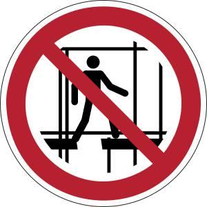 Ne pas utiliser un échafaudage incomplet - rond -  rouge