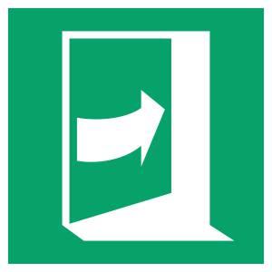 Porte qui s'ouvre en poussant sur son côté droite - carré de couleur vert