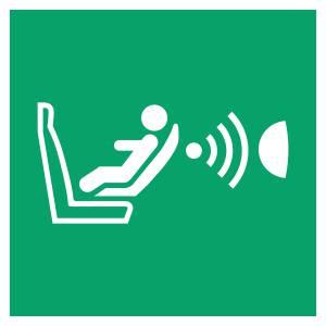 Système détection présence de siège enfant et de son orientation - carré de couleur vert