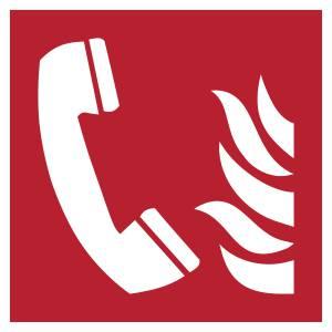 Téléphone à utiliser en cas d'incendie - carré de couleur rouge