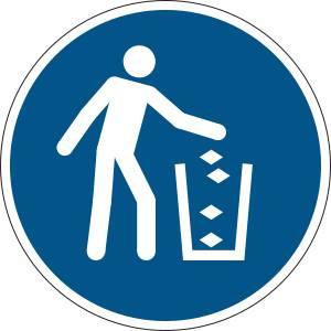 Utiliser la poubelle - rond de couleur bleu