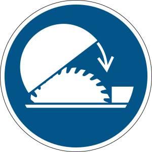 Utiliser la protection réglable de la scie circulaire sur table - rond de couleur bleu