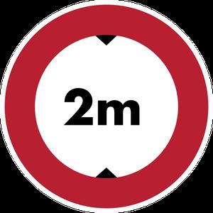 Accès interdit aux véhicules dont la hauteur, chargement compris, est supérieure à 2 m