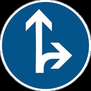 Directions obligatoires à la prochaine intersection : tout droit ou à droite