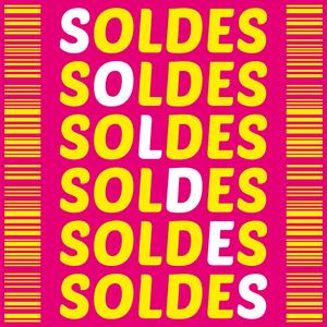 Soldes sur fond rose avec titre en ligne et en diagonale