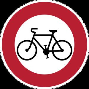 Accès interdit aux cycles, vélos, vtc et vtt