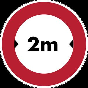 Accès interdit aux véhicules dont la largeur, chargement compris, est supérieure 2 m