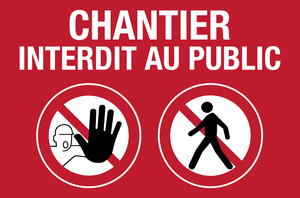 Chantier interdit au public - picto - rouge