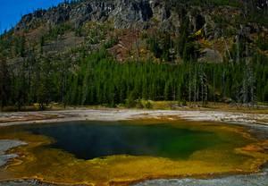 Lac multicolore au milieu d'une forêt