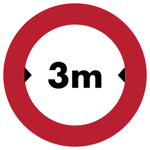 Accès interdit aux véhicules dont la largeur, chargement compris, est supérieure 3 m