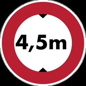 Accès interdit aux véhicules dont la hauteur, chargement compris, est supérieure à 4,5 m