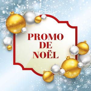 Étiquette promo de noël avec boules de noël