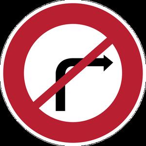 Signal-interdiction de tourner à droite à la prochaine intersection