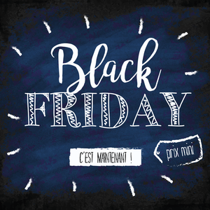 Black friday en police manuscrite sur tableau