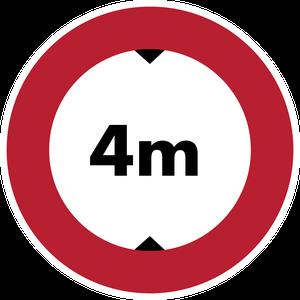 Accès interdit aux véhicules dont la hauteur, chargement compris, est supérieure à 4 m