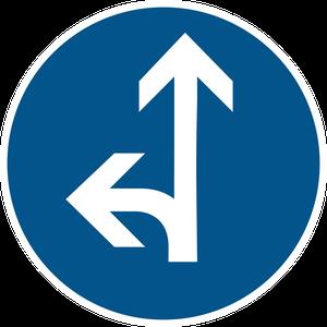 Directions obligatoires à la prochaine intersection : tout droit ou à gauche