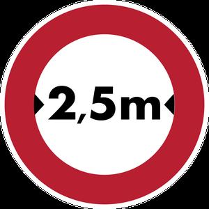 Accès interdit aux véhicules dont la largeur, chargement compris, est supérieure 2,5 m
