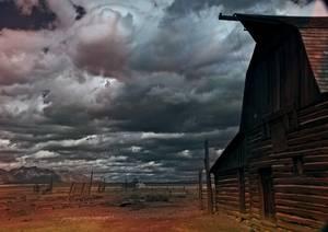 Ranch en bois avec paysage désertique
