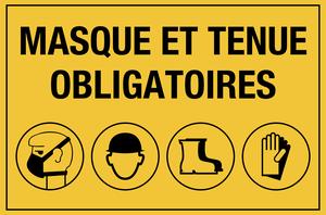 Masque et tenue obligatoire - picto - jaune