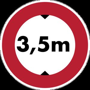 Accès interdit aux véhicules dont la hauteur, chargement compris, est supérieure à 3,5 m