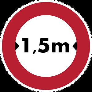 Accès interdit aux véhicules dont la largeur, chargement compris, est supérieure 1,5 m