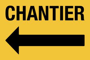 Flèche gauche pour chantier - jaune