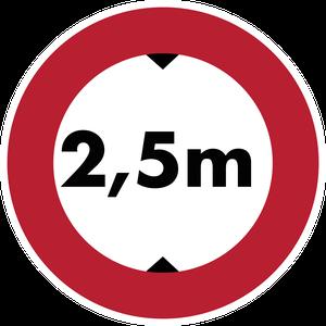 Accès interdit aux véhicules dont la hauteur, chargement compris, est supérieure à 2,5 m