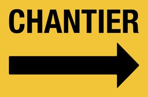 Flèche droite pour chantier - jaune