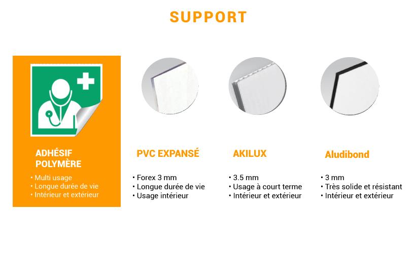 Différents supports pour signalétique d'usine carré