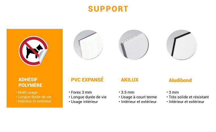 Différents supports pour signalétique d'usine ronde