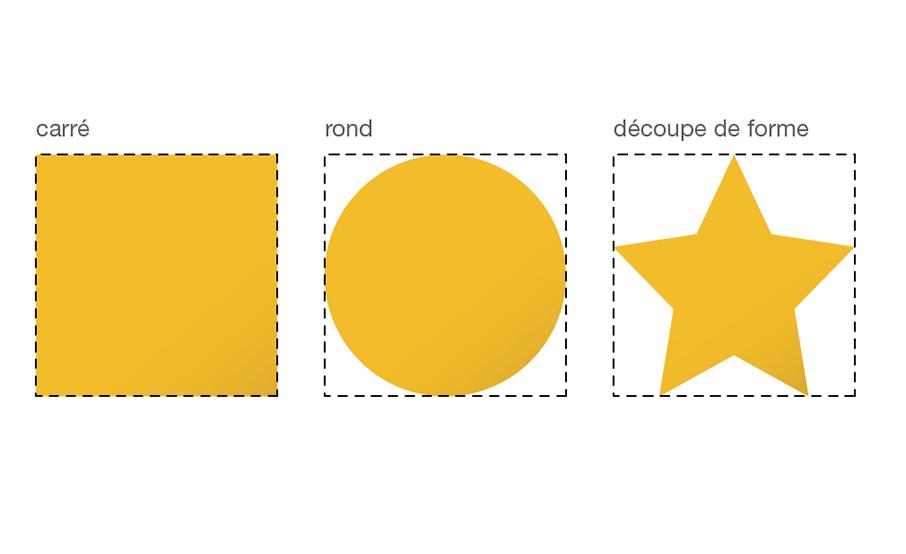 Modèle adhésif rond, carré ou à la forme