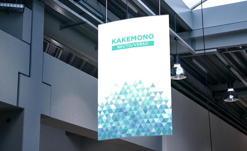 Kakémono imprimé recto/verso, kakémono vitrine