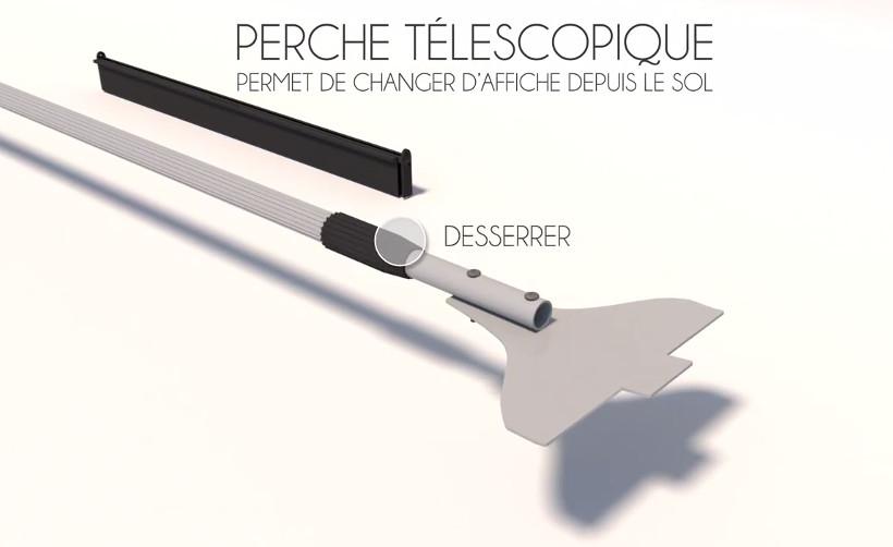 Porte affiche Magnétique Show Me : perche télescopique