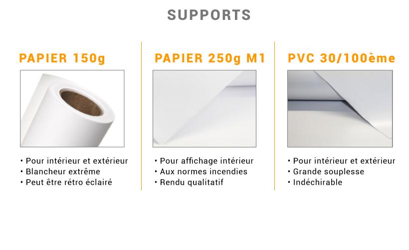 Détails supports 150g, 250g et PVC souple pour impression d'affiches
