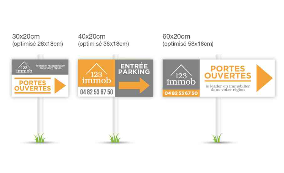 Format panneau immobilier fléchage