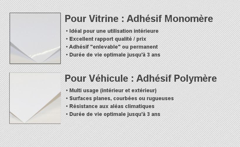 Différence entre l'adhésif pour vitrine (monomère) et pour véhicule (polymère)