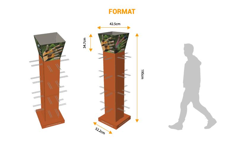 Présentoir colonne à broches - PLV de sol